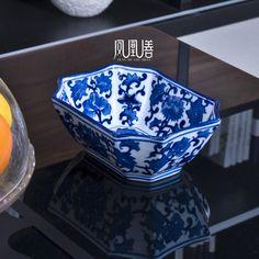 modern Chinese style | Modern chinese style blue and white porcelain ceramic fruit plate ...