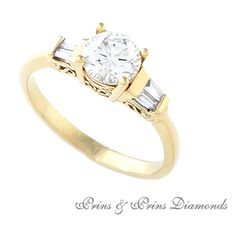Centre diamond is a Round brilliant cut diamond with 4 x baguette cut diamonds set in yellow gold Baguette, Centre, Diamonds, Stones, Sparkle, Engagement Rings, Yellow, Gold, Jewelry