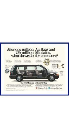 CHRYSLER MINIVAN Original 1991 Vintage Color Print Ad - Plymouth Voyager & Dodge Caravan by VintageAdOrama on Etsy