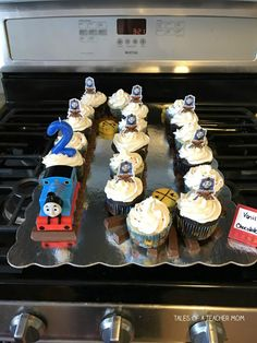 Train Birthday Party Cake, Thomas Birthday Parties, Thomas The Train Birthday Party, 2nd Birthday Boys, Birthday Ideas, Thomas Birthday Cakes, Car Party, Train Cupcakes, Transformer Birthday