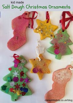 Kid made salt dough Christmas tree ornaments. Would make a lovely homemade Christmas gift. Easy salt dough recipe that toddlers and preschoolers can make. Kids Make Christmas Ornaments, Homemade Christmas Gifts, Simple Christmas, Christmas Decorations, Ornaments Ideas, Dough Ornaments, Ornament Crafts, Christmas Ideas, Holiday Crafts