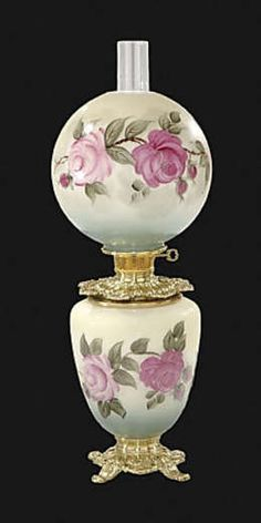 Check out this Hand Painted Bridal Roses Design Parlor Lamp. Antique Oil Lamps, Old Lamps, Antique Lighting, Vintage Lamps, Antique Glassware, Hurricane Oil Lamps, Victorian Lamps, Kerosene Lamp, Chandelier Lamp
