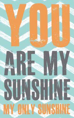 Boy Nursery Print, You are my Sunshine, turquoise blue, grey, orange Nursery Home Decor, Nursery Art, art print on wood by Jennifer McCully. $16.00, via Etsy.