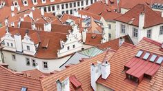 Rooftop view of the Mala Strana district taken from the Prague Castle South gardens. Prague Attractions, Prague Castle, Rooftop, Places To Visit, Gardens, Abstract, Artwork, Summary, Rooftops