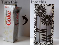 A great and cost effective idea - this upcycled tutorial shows you how to turn soda can boxes into paper lanterns. They'd look lovely decorations for a party.