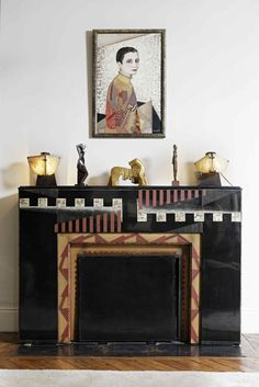 Fire surround and portrait of Madame Agnès by Jean Dunand both dated Sotheby's Paris. Art Deco Furniture, Furniture Styles, Sheet Metal Crafts, Art Deco Fireplace, African Sculptures, Fire Surround, Modern Art Deco, Brown Art, Art Deco Design