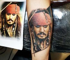 Jack Sparrow tattoo by Renata Jardim Face Tattoos, Cool Tattoos, Jack Sparrow Tattoos, Johnny Depp Tattoos, Collage Tattoo, Pirate Tattoo, World Tattoo, Tattoos Gallery, Tattoo Images