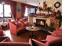 accogliente sala soggiorno con angolo  caminetto HOTEL THURWIESER PASSO STELVIO