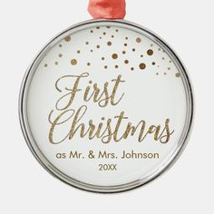 Elegant Gold First Christmas as Mr. and Mrs. Metal Ornament - Elegant Gold First Christmas as Mr. and Mrs. Holiday Ornament. Gold confetti print on the top with elegant script typography for their first Christmas as husband and white, customizable name and year. The Newlyweds will delight in receiving a keepsake gift they can hang on their Christmas tree. Holiday Ornaments, Holiday Cards, Holiday Gifts, Christmas Cards, Christmas Tree, First Christmas Married, Gold Confetti, Family Memories, New Parents
