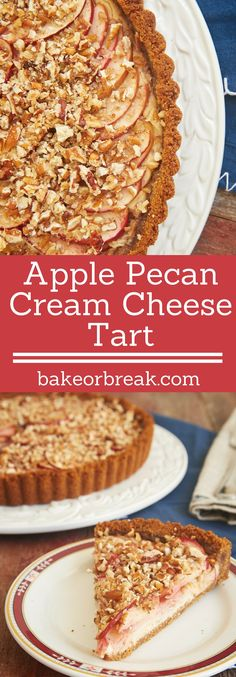Apple Pecan Cream Cheese Tart is a delicious combination of apple pie and cheesecake. This lovely dessert is a fall baking must! - Bake or Break ~ http://www.bakeorbreak.com