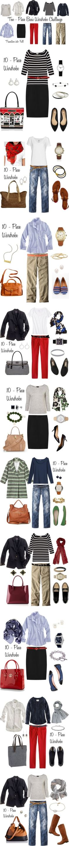 """Looks from the 10 - Piece Wardrobe Challenge"" by bluehydrangea Capsule Wardrobe, 10 Piece Wardrobe, Wardrobe Basics, Wardrobe Ideas, Small Wardrobe, Travel Wardrobe, Style Casual, Casual Outfits, Fashion Outfits"
