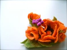 Felted brooch Orange flowers bouquet  Felted flowers by jurooma