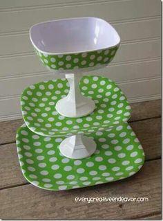 Use dollar store plates & bowls