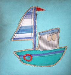 Aplique fishing boat cushion cover