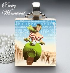 Scrabble Tile Jewelry  Italian Vespa  Scrabble par prettywhimsical, $7,95