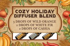 Embrace the coziness of the season with one of my favorite diffuser blends - Cozy Holiday! Simply add 3 drops of Wild Orange, 2 drop