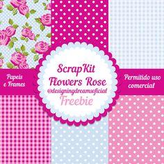 Scrapkit Digital Flowers Rose grátis para baixar - Cantinho do blog