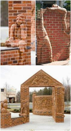 20 Incredibly Creative Ways To Reuse Old Bricks Summer is finally here and with it comes the urge to get outside and spruce up that landscape. If you've been looking for things to do with that pile of old bricks, I've got a Brick Architecture, Architecture Details, Brick Projects, Diy Projects, Brick Works, House Worth, Brick Art, Brick Detail, House Front Design
