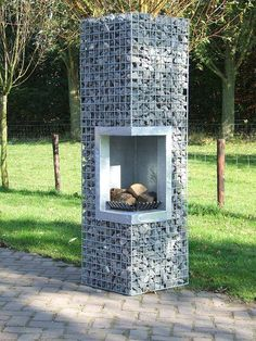 Gabion fire pit with chimney