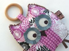 Sophia the Patchwork Owl Crinkle Toy comes with Detachable Organic Wood Teething Ring - Great Baby Girl Gift.