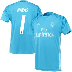 Navas Real Madrid adidas 2016 17 Home Goalkeeper Replica Jersey - Light  Blue https  138f45e96a