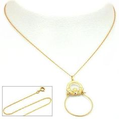 14K Gold Claddagh Charm Holder 18' Chain Jewelry -- Visit the image link more details.