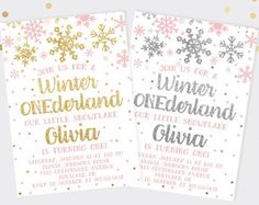 Winter ONEderland Gold or Silver Glitter Baby Girl First Birthday Invitation, Printed or Digital Invitations, Winter First Birthday Party