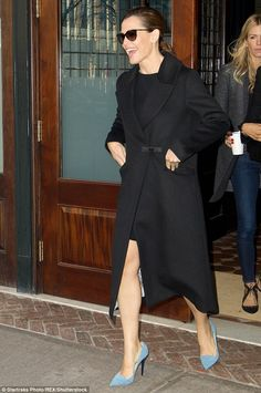 Peek-a-boo: Jennifer Garner flashed a bit of leg as she headed out for a day of press in New York City on Thursday