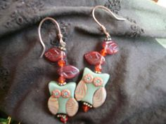 OOAK Artisan The Owls in Fall wire and bead by LAMOREBOHEME, Reduced from $15.00 to $10.00