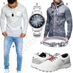 Herren-Outfit mit weißem Shirt und grauer Strickjacke (m0632) #supra #merish #jeans #shirt #armani #outfit #style #fashion #menswear #herren #männer #shirt #mode #styling #sneaker #menstyle #mensfashion #menswear #inspiration #cloth #clothing #ootd #herrenoutfit #männeroutfit