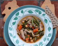 Slow Cooker Chicken, Chickpea & Kale Stew ♥ KitchenParade.com, a hearty, satisfying mix of color, texture, flavor.