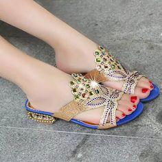 Women Summer Beach Sandals Rhinestone Slip On Sandals Platform Sandals - US$20.62