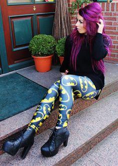! * YULIE KENDRA´S LIFE * !: Print Leggings hot or not ?! #romwe #leggings #print #batman #ianywear #sweater #purple #hair #blogger