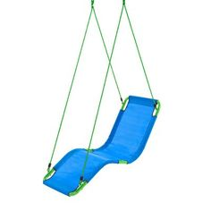 HearthSong Olefin Hanging Chaise Lounger | Wayfair Kids Hammock, Hammock Chair, Hammocks, Kids Lounge Chair, Skateboard Swing, Platform Swing, Kid Friendly Backyard, Blue Lounge, Backyard Play