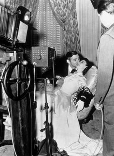 Clarke Gable and Vivien Leigh on the set of Gone with the Wind, 1939