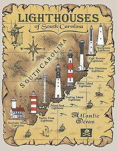 lighthouses in south carolina. but wheres the folly beach one? Ancient Maps, Saint Mathieu, Lighthouse Pictures, Lighthouse Art, Beacon Of Light, Beacon Of Hope, Vintage Diy, Places To See, Beautiful Places