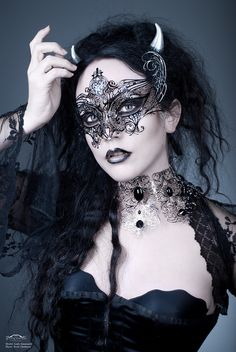 Dramatic Gothic Black Angel Masquerade Mask made from Metal Lace. This Mask is embellished with Crystals & looks like extended Angel Wings. Regular Post Included Free from Mask Shop Australia. Victorian Goth, Gothic Steampunk, Steampunk Couture, Victorian Costume, Dark Beauty, Gothic Beauty, Gothic Mask, Gothic Photography, Mask Girl