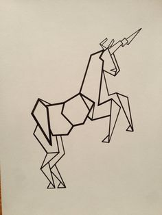 Illustrated Geometric Unicorn Poster For Allyson
