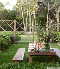 NIce DIY fence. Backyard Escapes - Amazing Backyards - House Beautiful