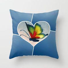 Butterfly Love - Blue Throw Pillow