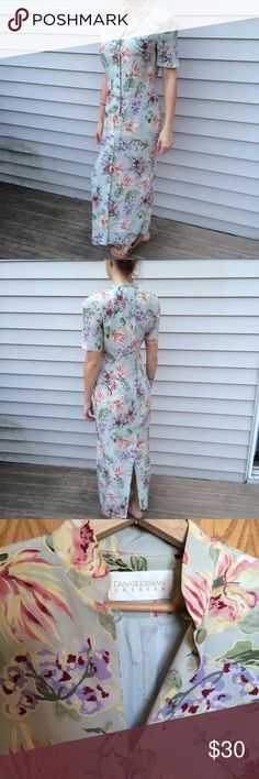 """Vintage Dana Buchman silk dress Sz 8 Lovely vintage Dana Buchman silk dress. 52 1/2 """" from shoulder. And yes, shoulder pads(removable). Pair with nude pumps for you next dressy occasion. Model is 5'6. Dana Buchman Dresses"""