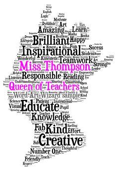 Thank you teacher or teaching assistant word art | Thank you ...