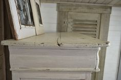 Shabby Chic Original Paris Cabinet artwork AS light grey, old white. drawers mix duck egg blue & paris grey