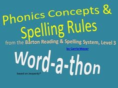 This Jeopardy-style game will help your students review the concepts taught in Level 3 of the Barton Reading & Spelling System by Susan Barton. …