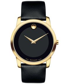 Movado Unisex Swiss Museum Classic Black Leather Strap Watch 40mm 0606876 - Women's Watches - Jewelry & Watches - Macy's