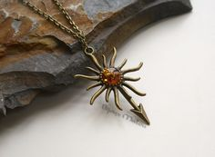 House Martell Sigil Necklace Faux Amber Season 4 by BijouxMalou