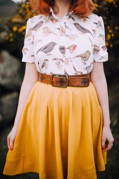 Colour is great and the belt reminds me of a cosy used leathe couch, brightened up by the fun shirt