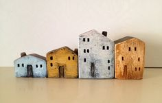 ceramic minatures on Behance Clay Houses, Ceramic Houses, Miniature Houses, Ceramic Clay, Ceramic Painting, Painting On Wood, Painted Ceramics, Art Houses, Wooden Houses