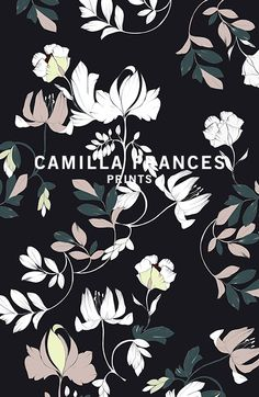 Camilla Frances is a individual print creator, leading a team that combines unique, personal design sensibilities with traditional hand drawing techniques to craft an ever-growing world of prints. Textiles, Textile Prints, Textile Patterns, Print Patterns, Pattern Illustration, Graphic Design Illustration, Fun Prints, Floral Prints, Surface Pattern Design