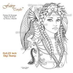 Fira and Drake Fairy Tangles Digi Stamp by FairyTangleArt on Etsy